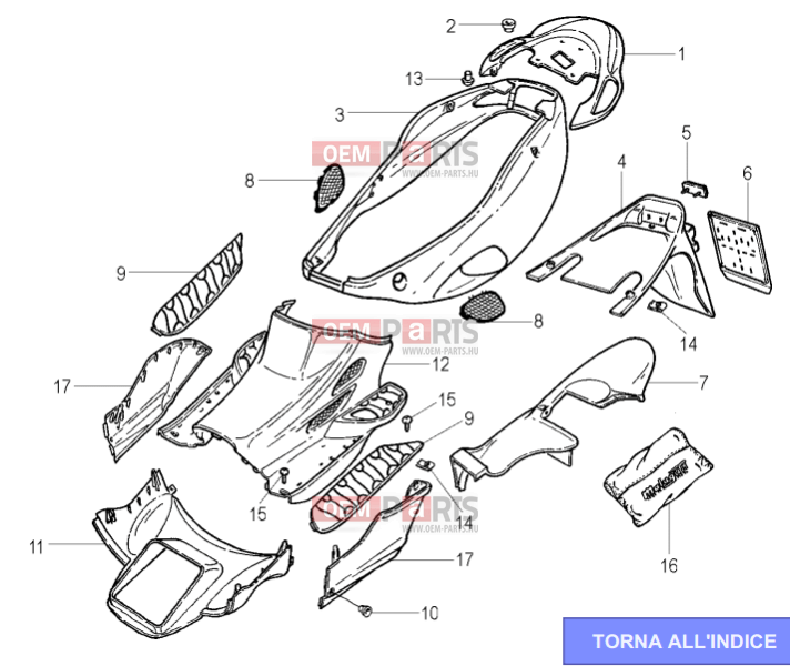 Malaguti F18 Warrior 150 Carrozzeria posteriore EPC parts
