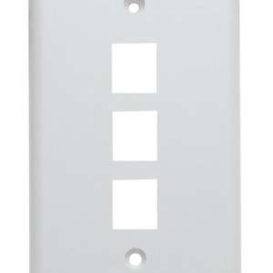 Keystone Wall Plate, Single Gang, 3 Port, White