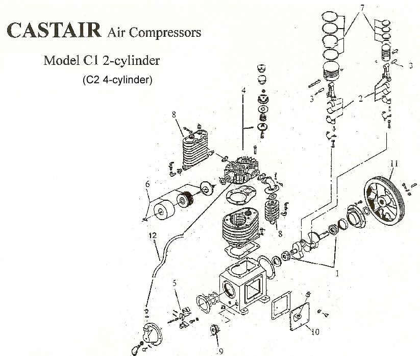 Castair, 2 HP Single Stage, V2 Cylinder Air Compressor