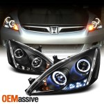 Fit 2003 2007 Honda Accord 2 4dr Jdm Crystal Black Headlights 8 Led Fog Lamp