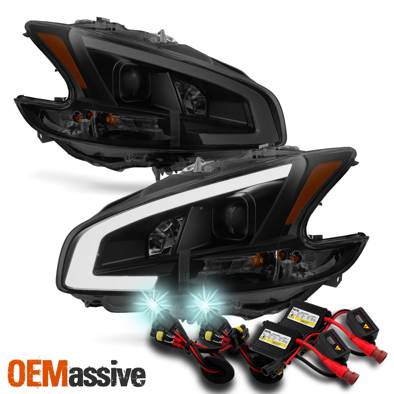 fits black smoke 09 14 maxima led drl light bar projector headlights 8000k hid [ 1500 x 1500 Pixel ]