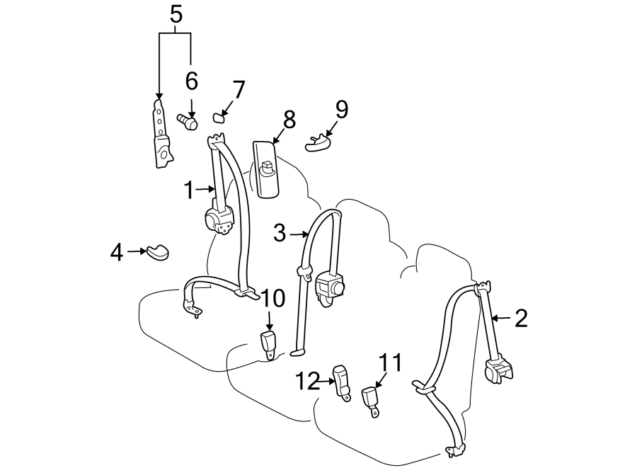 Toyota Sienna Seat Belt Receptacle (Rear). SECOND ROW SEAT