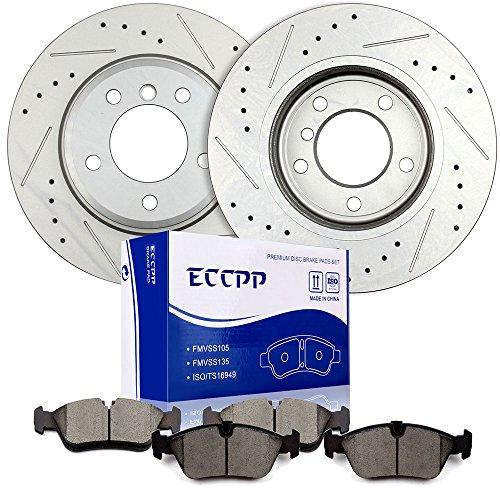 Brake Rotors Brakes Pads Kits,ECCPP 2pcs Front Discs Brake Rotors and 4pcs Ceramic Disc Brake Pads Set for BMW 323i,BMW 325Ci,BMW 325i,BMW 325xi,BMW Z3,BMW Z4