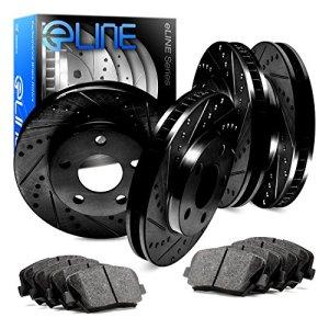 For 2004-2010 BMW X3 Front Rear eLine Black Drill Slot Brake Rotors+Ceramic Pads