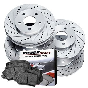 Power Sport Cross Drilled Slotted Brake Rotors and Ceramic Brake Pads Kit