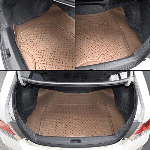Motor Trend 4pc Beige Car Floor Mats Set Rubber Tortoise Liners w/ Cargo