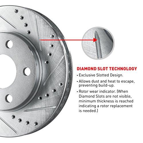 For 2010-2016 Cadillac SRX Front eLine Drill Slot Brake Rotors+Ceramic Brake Pad Fits the Following Vehicles