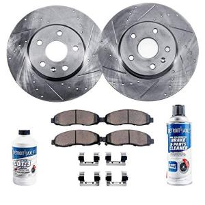 Detroit Axle - Pair (2) Front Drilled and Slotted Disc Brake Rotors