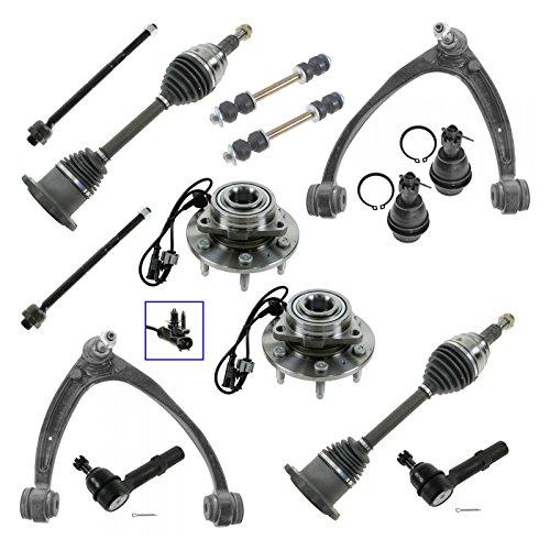 Front 14 Piece Steering & Suspension Kit Hubs Axles Tie