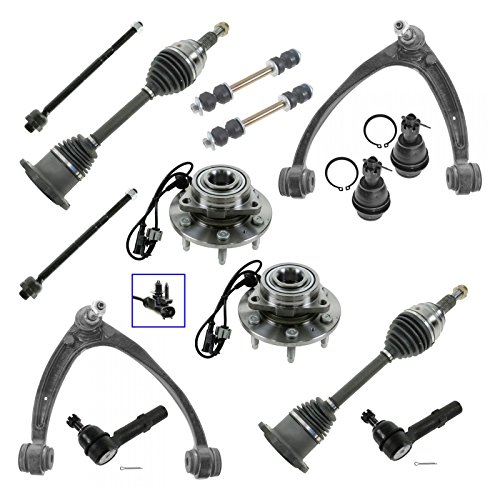 Front 14 Piece Steering & Suspension Kit Hubs Axles Tie Rods Sway Links for GM