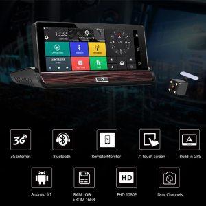 """Camlive V50 3G car DVRs 7"""" GPS navi bluetooth car video recorder dual cams"""