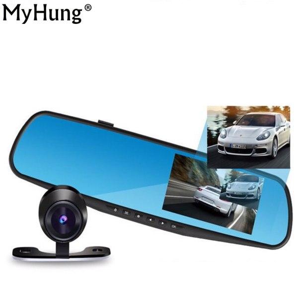 Car Dvr Camera DVRs Dash Auto 4.3 Inch Full HD 1080P Rearview Mirror Digital Video Recorder Dual Lens Registratory Camcorder