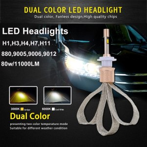 Led Light Dual Color 3000k 6000k 880/9005/9006/9012/H1/H3/H4/H7/H11