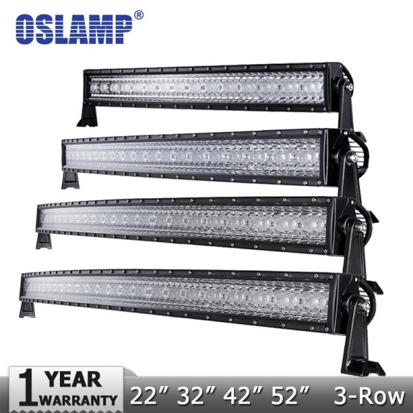 "Oslamp 3-Row 14"" 22"" 32"" 50"" Curved LED Light Bar Offroad Spot"