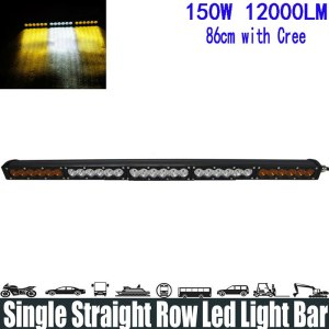 "150W 32"" White Amber Yellow Single Row Led Light Bar"