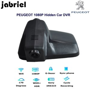 Jabriel Auto HD 1080P wifi dash cam hidden car dvr dual lens rearview camera video recorder for 2015 2016 2017 2018 PEUGEOT 408