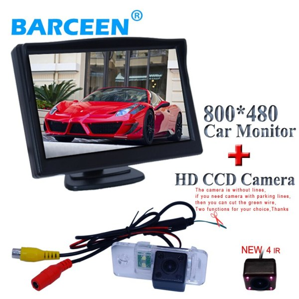 """5"""" car parking monitor for universal car with 4 ir auto wire car rearview camera for AUDI A6L 2009~2011 /A4 /A3/ Q7 /S5"""