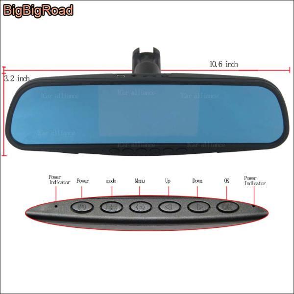 BigBigRoad For toyota Crown Hilux Car Mirror DVR Camera Blue Screen Dual Lens Video Recorder Dash Cam with Original Bracket