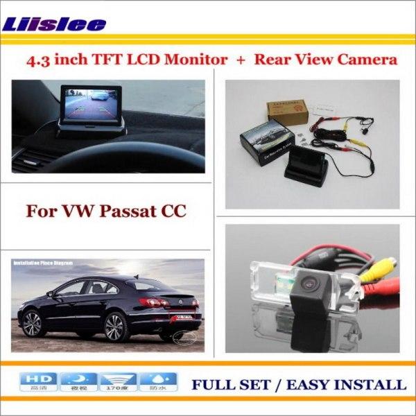 "Liislee For Volkswagen VW Passat CC Car Reverse Backup Rear Camera + 4.3"" TFT LCD Screen Monitor = 2 in 1 Rear Parking System"