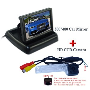 "4.3"" foldable lcd car rear monitor +rainproof 4 ir car reserve camera glass lens use for Volkswagen PASSAT B5/Jetta/Touran/Caddy"