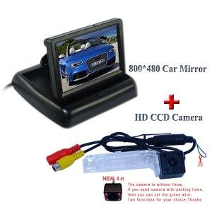 "4.3"" foldable lcd car rear monitor +rainproof 4 ir car reserve camera glass lens use for Volkswagen PASSAT B5/Jetta/Touran/Caddy"