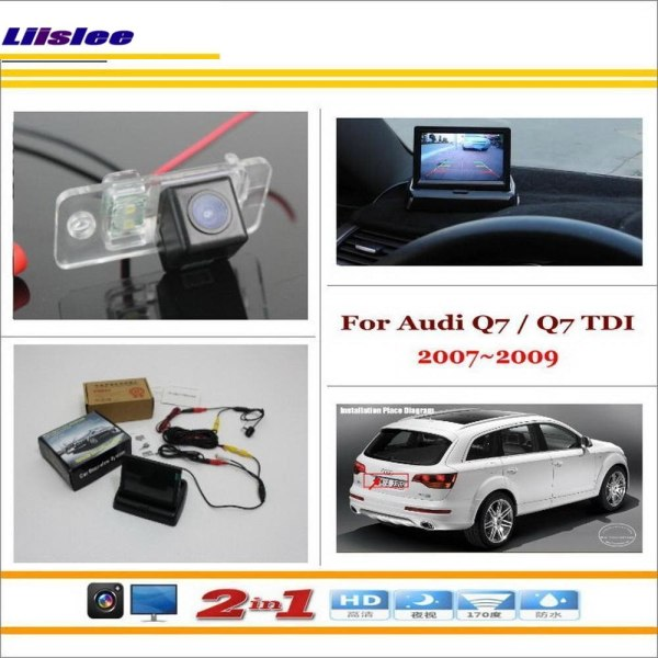 """Liislee For Audi Q7 / Q7 TDI 2007~2009 - Car Reverse Backup Rear Camera + 4.3"""" LCD Monitor = 2 in 1 Rearview Parking System"""