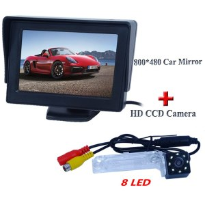 "Factory selling 4.3"" hd lcd car monitor wtih car rear camera with 8 led for Volkswagen PASSAT B5/Jetta/Touran/Caddy"