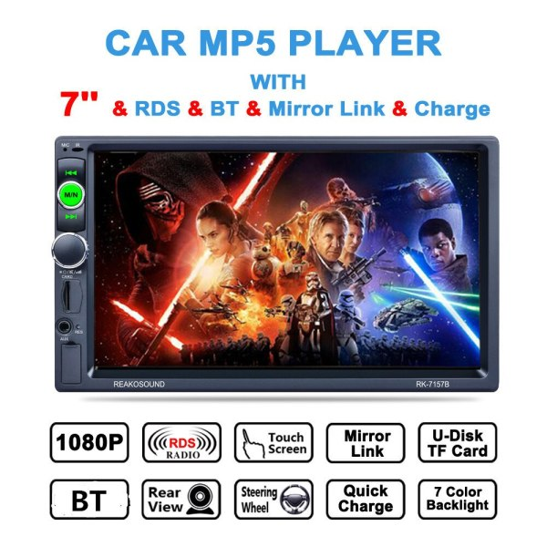 Player AM/FM/RDS Radio Support Mirror Link/Aux In/Rear View Camera