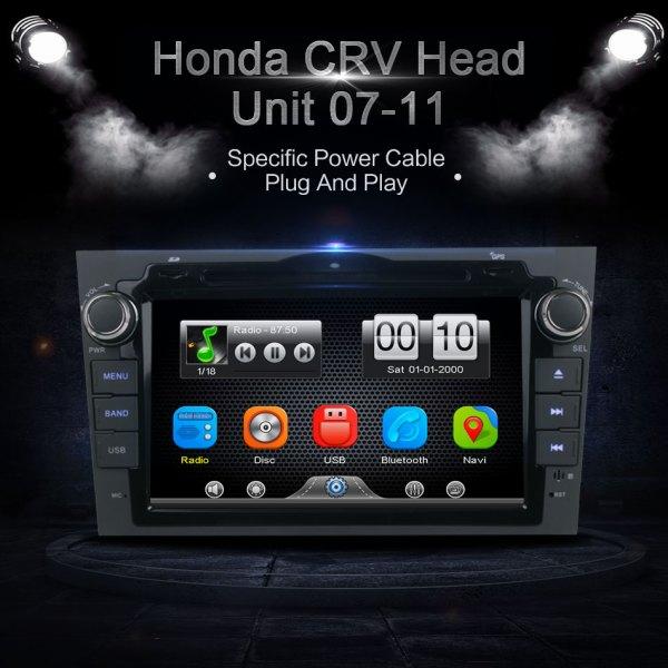 2Din Car In Dash DVD Video MP3 Player GPS Navi Radio Bluetooth Head Unit Stereos with Reverse Camera for Honda CRV 2007-2011
