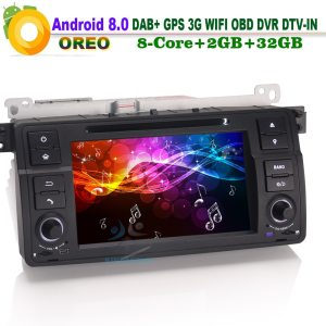 8 Core Android 8.0 DAB+ DVD SatNav GPS WiFi 3G CD SD RDS AUX OBD CAM-IN DVR Car Radio Player for BMW E46 3er Rover 75 M3 MG ZT