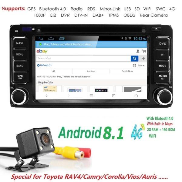 Toyota In Dash Stereo Rearview Camera GPS Navigator Radio Android 8.1 Fit for Toyota In Dash Stereo Car DVD Player GPS Navigator Radio SWC DVR RDS DVBT DAB+TPMS BT USB SD Rearview Camera