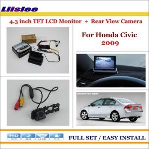 """Liislee For Honda Civic 2009 In Car 4.3"""" Color LCD Monitor + Car Rear Back Up Camera = 2 in 1 Park Parking System"""