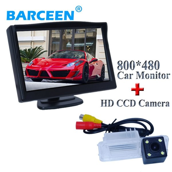 """Original +4 led +glass 170 degree lens+5"""" wide lcd screen car rear view camera with screen monitor for Volkswagen GOLF 6/Magotan"""
