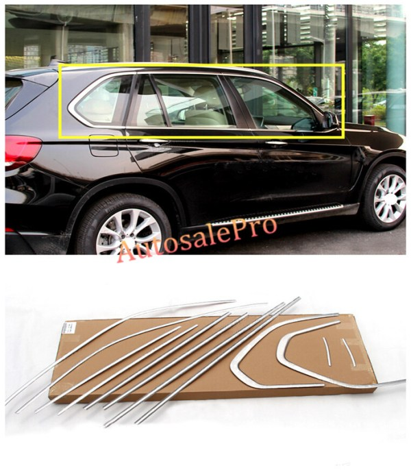 BMW X5 F15 Window Frame Sill Top+Bottom Moulding Trims Bright