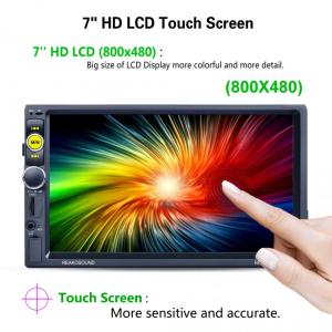 7'' 2DIN Bluetooth In Dash HD Touch Screen Car Video Stereo Radio Player Support Mirror Link / Aux In with Rear View Camera