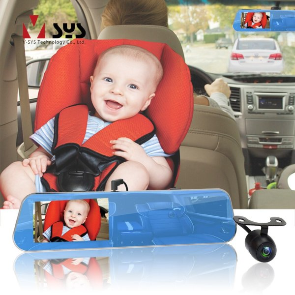 SYS 3CH Rearview Mirror DVR Dash Cam Super HD 2K 1296P+720P+720P with Interior Cabin & Rear Facing Baby Car Seat Camera Monitor
