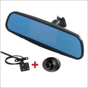 BigBigRoad Dual Lens Car Mirror camera DVR Video Recorder Dash Cam 5 inch Parking Monitor For ford focus ecosport escort