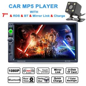 New 7'' 2DIN Bluetooth In Dash HD Touch Screen Car Video Stereo Radio Player Support Mirror Link / Aux In with Rear View Camera