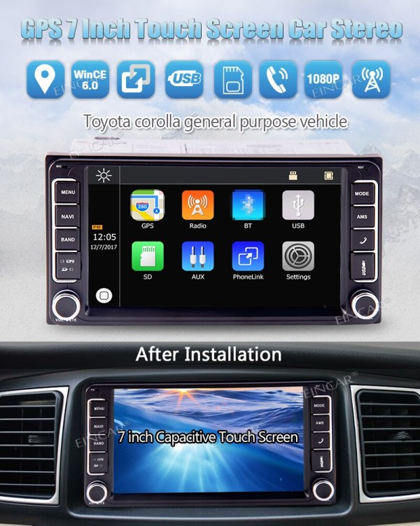 Free Camera 2 Din In Dash Car Radio 5 points Multi-Touchscreen GPS Navigation Car MP5 Player Headunits For Toyota Corolla