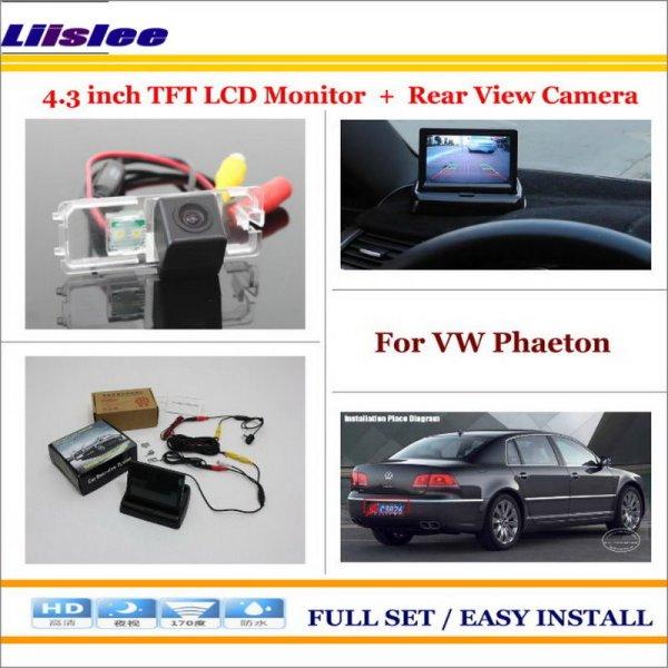 "Liislee For Volkswagen VW Phaeton 2002~2009 - Car Reverse Rear Camera + 4.3"" TFT LCD Monitor = 2 in 1 Parking System"