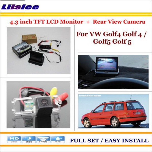"Liislee For Volkswagen VW Golf4 Golf 4 / Golf5 Golf 5 Car Rear Camera + 4.3""LCD Screen Monitor = 2 in 1 Back Up Parking System"