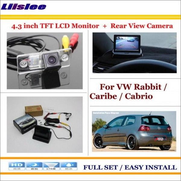 "Liislee For Volkswagen VW Rabbit / Caribe / Cabrio 1991~2009 - Car Reverse Rear Camera + 4.3"" Monitor = 2 in 1 Parking System"