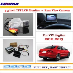 "Liislee For Volkswagen Sagitar () 2012~2015 In Car 4.3"" Color LCD Monitor + Car Rear Camera = 2 in 1 Park Parking System"