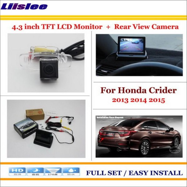 """Liislee For Honda Crider 2013 2014 2015 Auto Back UP Reverse Camera + 4.3"""" Color LCD Monitor = 2 in 1 Rearview Parking System"""