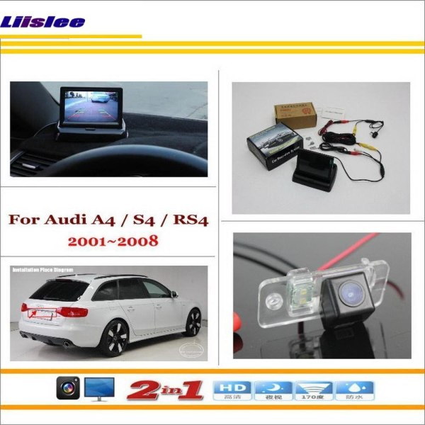 """Liislee For Audi A4 / S4 / RS4 2001~2008 - Car Backup Rear Camera + 4.3"""" TFT LCD Screen Monitor = 2 in 1 Rearview Parking System"""