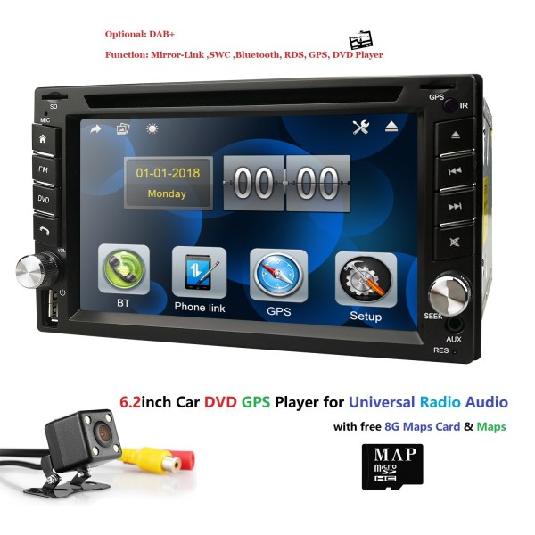 Ossuret universal Car Radio Double 2 din Car DVD Player GPS Navigation In dash 2din Car PC Stereo Head Unit video Free Map Cam