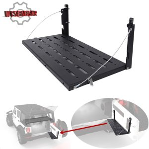 For Jeep Wrangler JK 2007-2017 Black Steel Cargo Carrier Shelf Rear Door Table Rear Gate Interior Storage Rack CE042