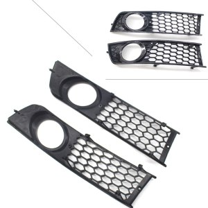 2Pcs Car Front Bumper Fog Light Cover Grille Grill For Audi A4 B6 2001 2002 2003 2004 2005 Honeycomb Style