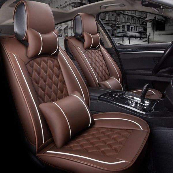 (Front +Rear) Special Leather Car Seat Cover auto seats cushion for renault armrest capture clio 4 fluence kadjar kaptur koleos