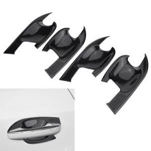 4Pcs Door Bowl Cover Trim Carbon Fiber Car Exterior ABS Plastic Interior Handle Bowl Frame Cover Trim for Audi Q5 (FY) 2018